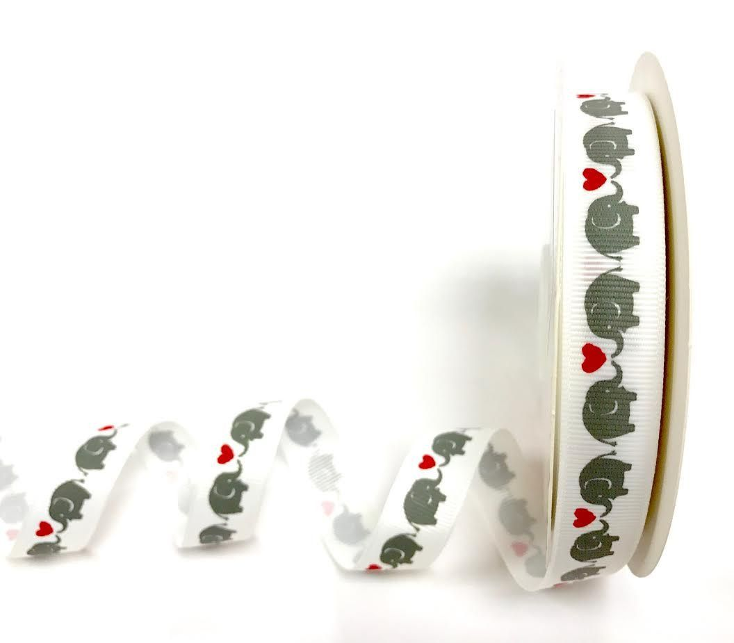 Bertie's Bows Off White 16mm Elephants & Heart print grosgrain