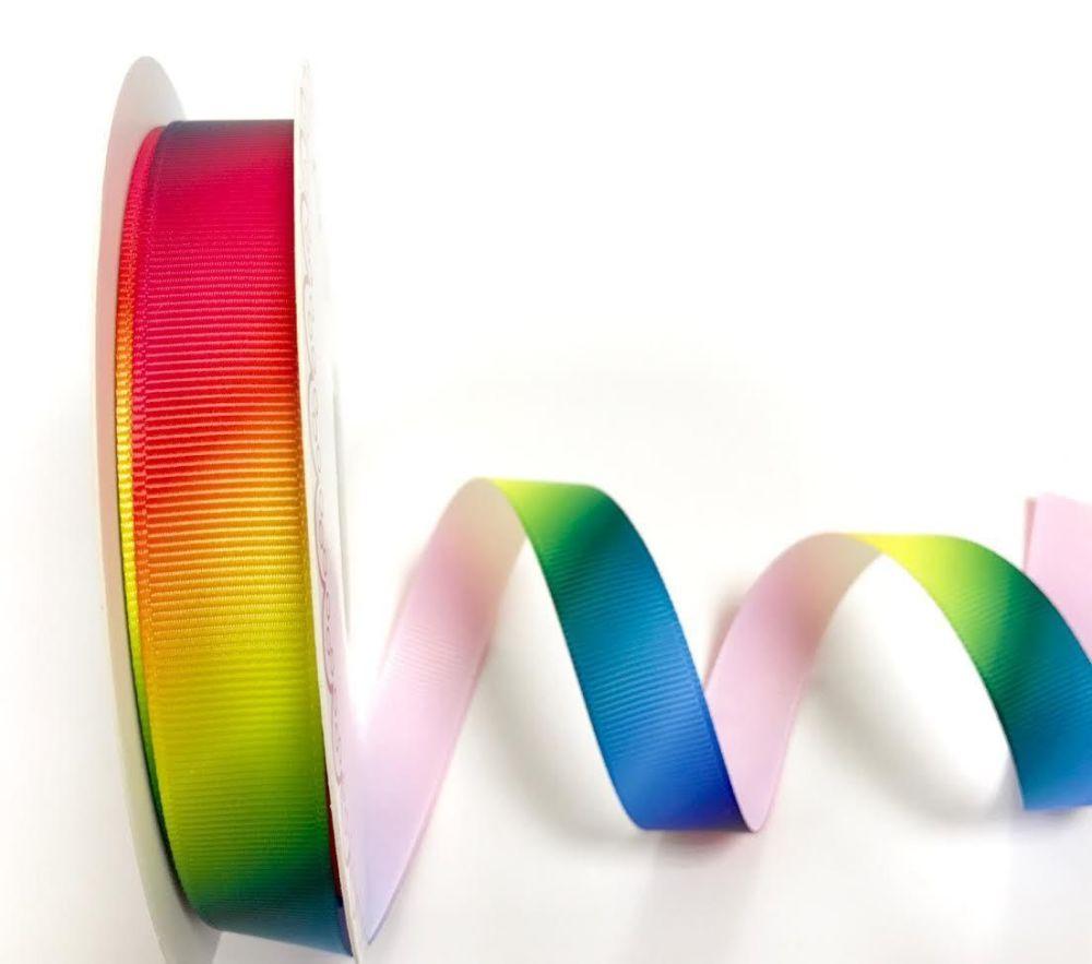 Bertie's Bows 16mm Rainbow print grosgrain