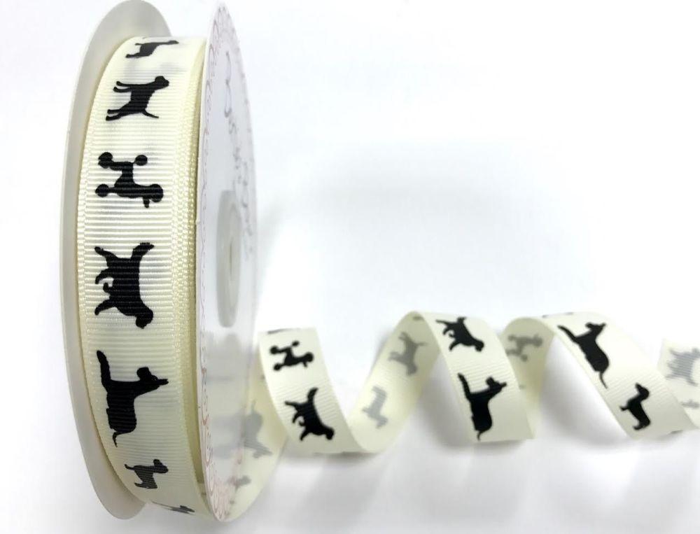 Bertie's Bows 16mm Dog silhouette print grosgrain