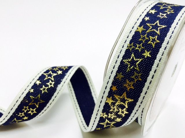 Bertie's Bows Navy Stitched Edge 25mm with Gold Metallic Star Print