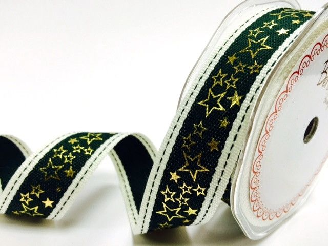 Bertie's Bows Green Stitched Edge 25mm with Gold Metallic Star Print