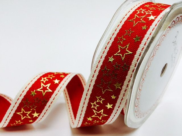 Bertie's Bows Red Stitched Edge 25mm with Gold Metallic Star Print
