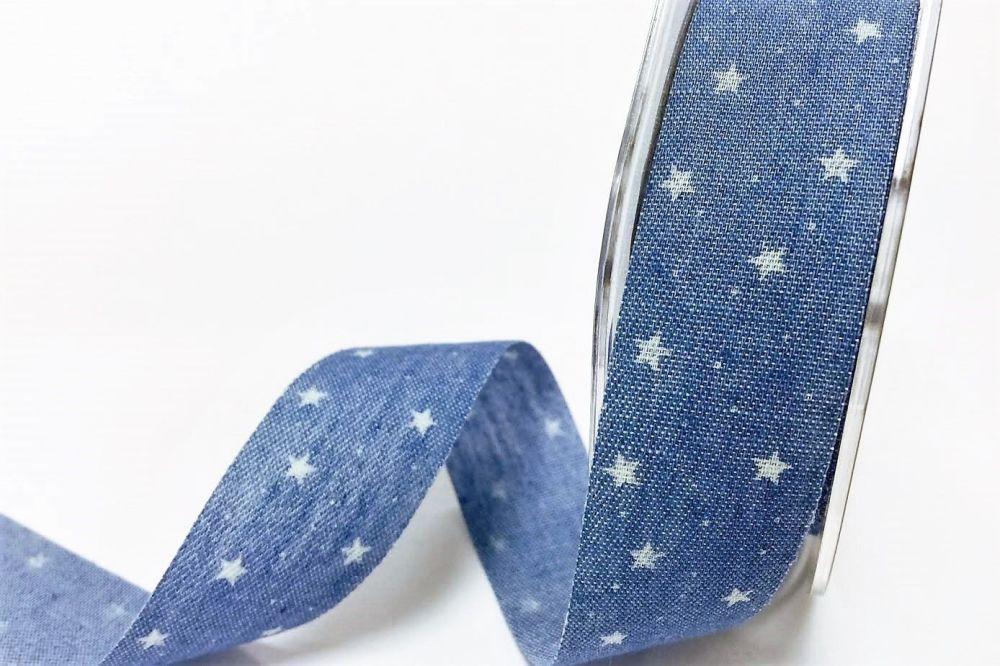Bertie's Bows Star Print on 25mm Light Denim with Raw Cut Edge