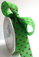 Bertie's Bows Green with Pink 25mm Star Print with Cut Edge