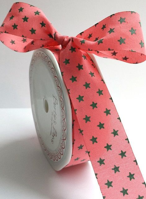 Bertie's Bows Coral With Green 25mm Star Print with Cut Edge