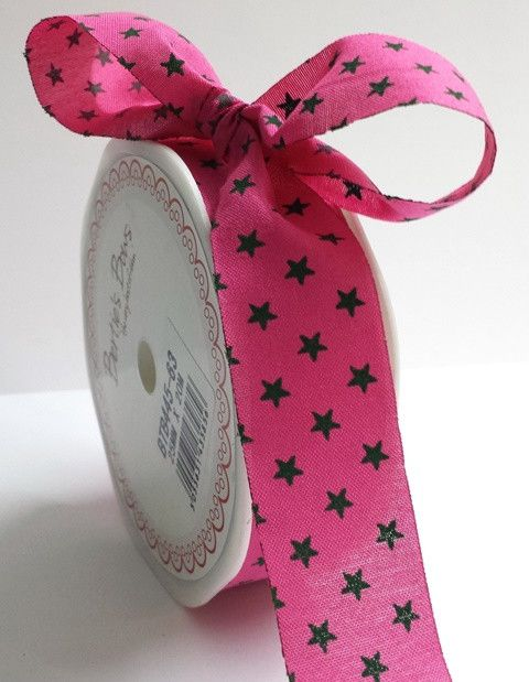 Bertie's Bows Pink with Brown 25mm Star Print with Cut Edge