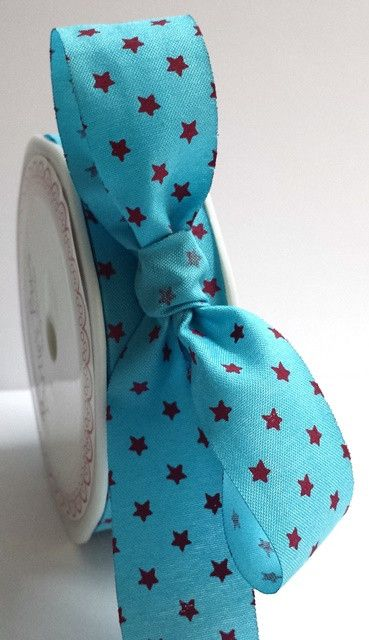 Bertie's Bows Turquoise With Magenta 25mm Star Print with Cut Edge