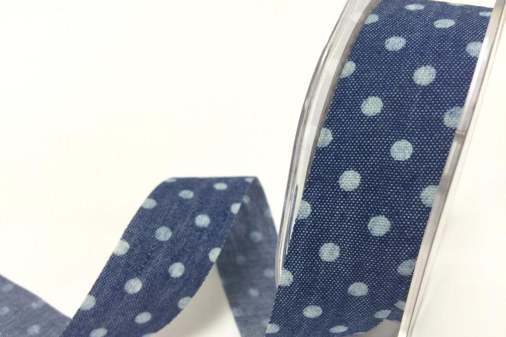 Bertie's Bows Spots on 25mm Dark Denim with Raw Cut Edge