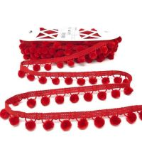 Pom-Poms Trim 28mm Red