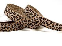 Bertie's Bows Beige Leopard Print 16mm Grosgrain Ribbon