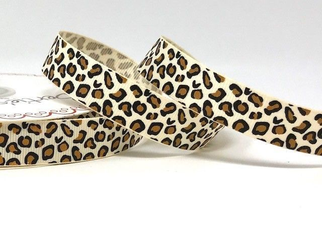 Bertie's Bows Ivory Leopard Print 16mm Grosgrain Ribbon