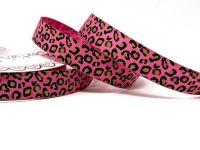 Bertie's Bows Fuchsia Leopard Print 16mm Grosgrain Ribbon