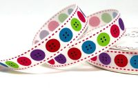 Bertie's Bows Bright Button Print 16mm White Grosgrain Ribbon