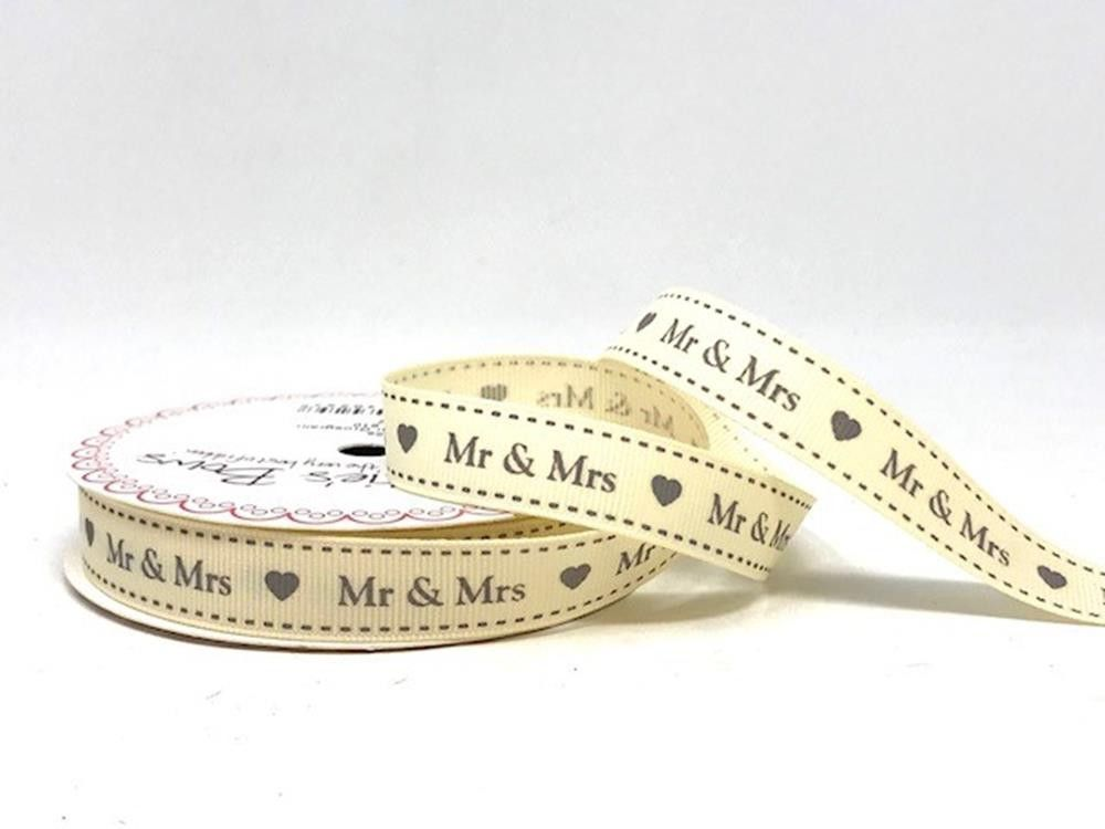 Bertie's Bows Mr & Mrs Print 16mm Ivory Grosgrain Ribbon