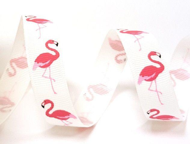 Bertie's Bows Bright Pink Flamingo Print on 16mm Off White Grosgrain Ribbon