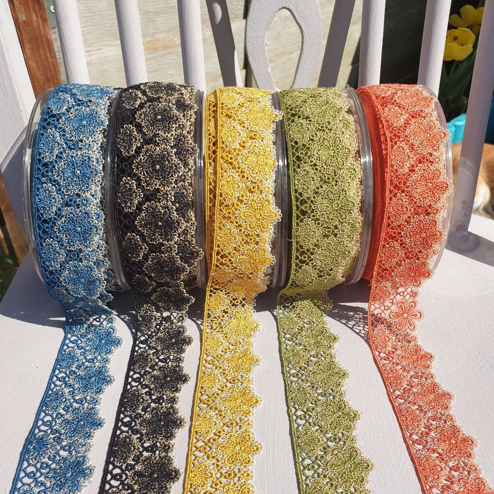 Flower Lace Trims 35mm Petrol