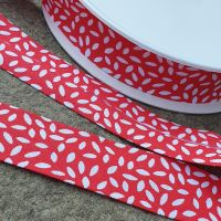Bias Binding Leaves 27mm Red