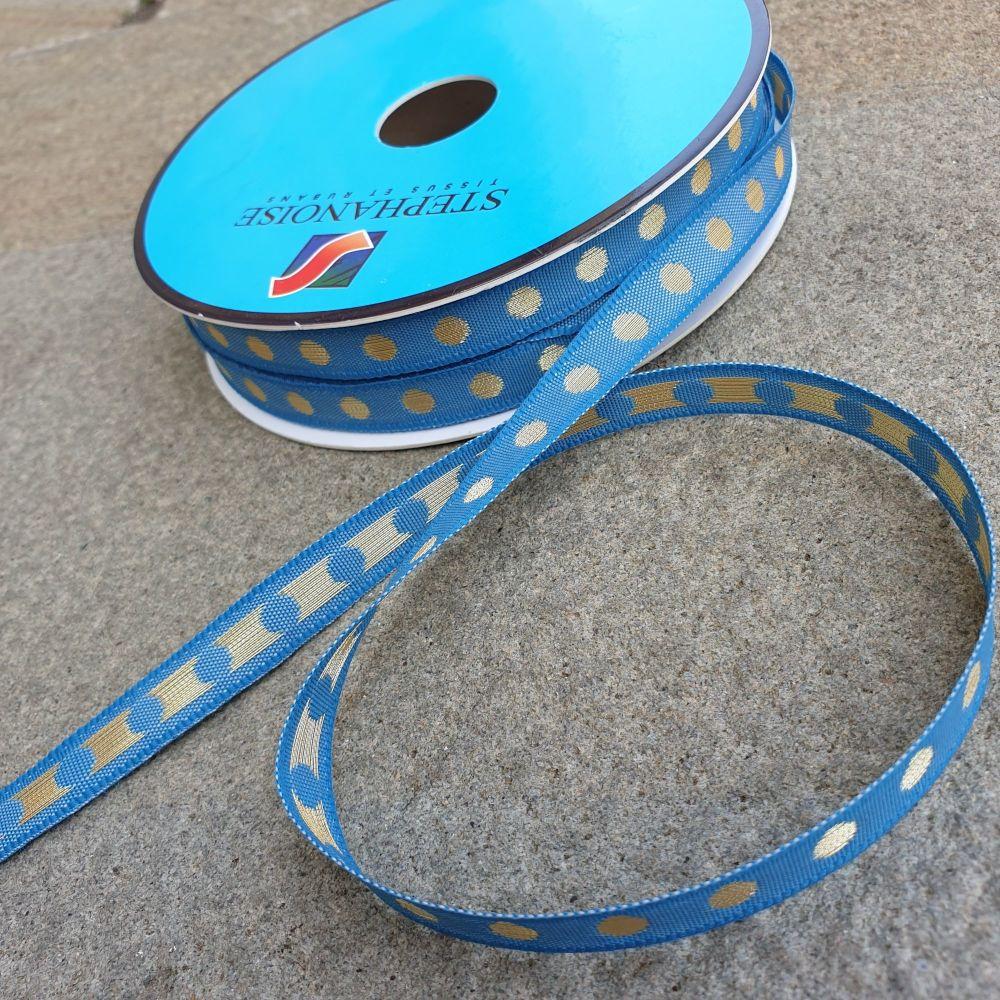 Polka Dot Ribbon 10mm Blue