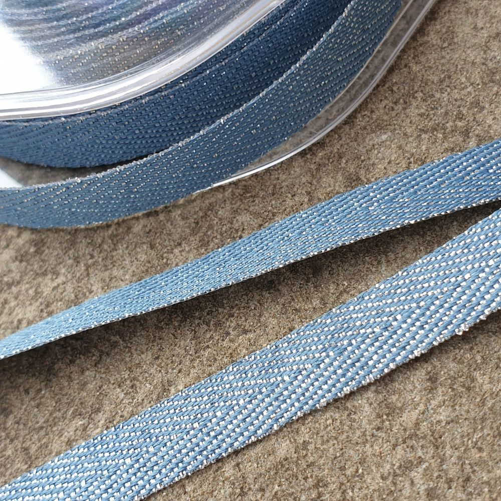 Metallic Chevron Ribbon 11mm Blue