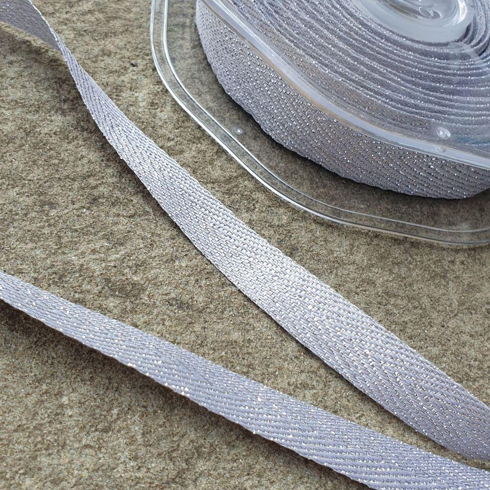 Metallic Chevron Ribbon 11mm Silver