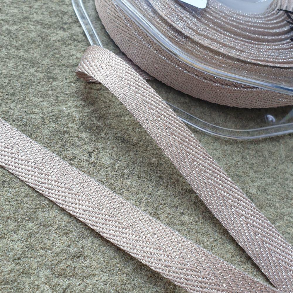 Metallic Chevron Ribbon 11mm Beige