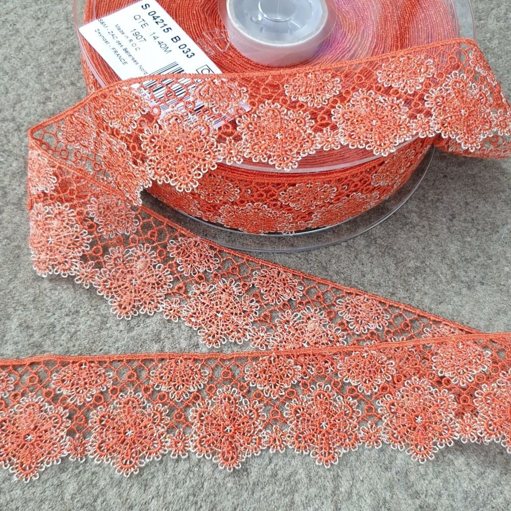 Flower Lace Trim 35mm Orange