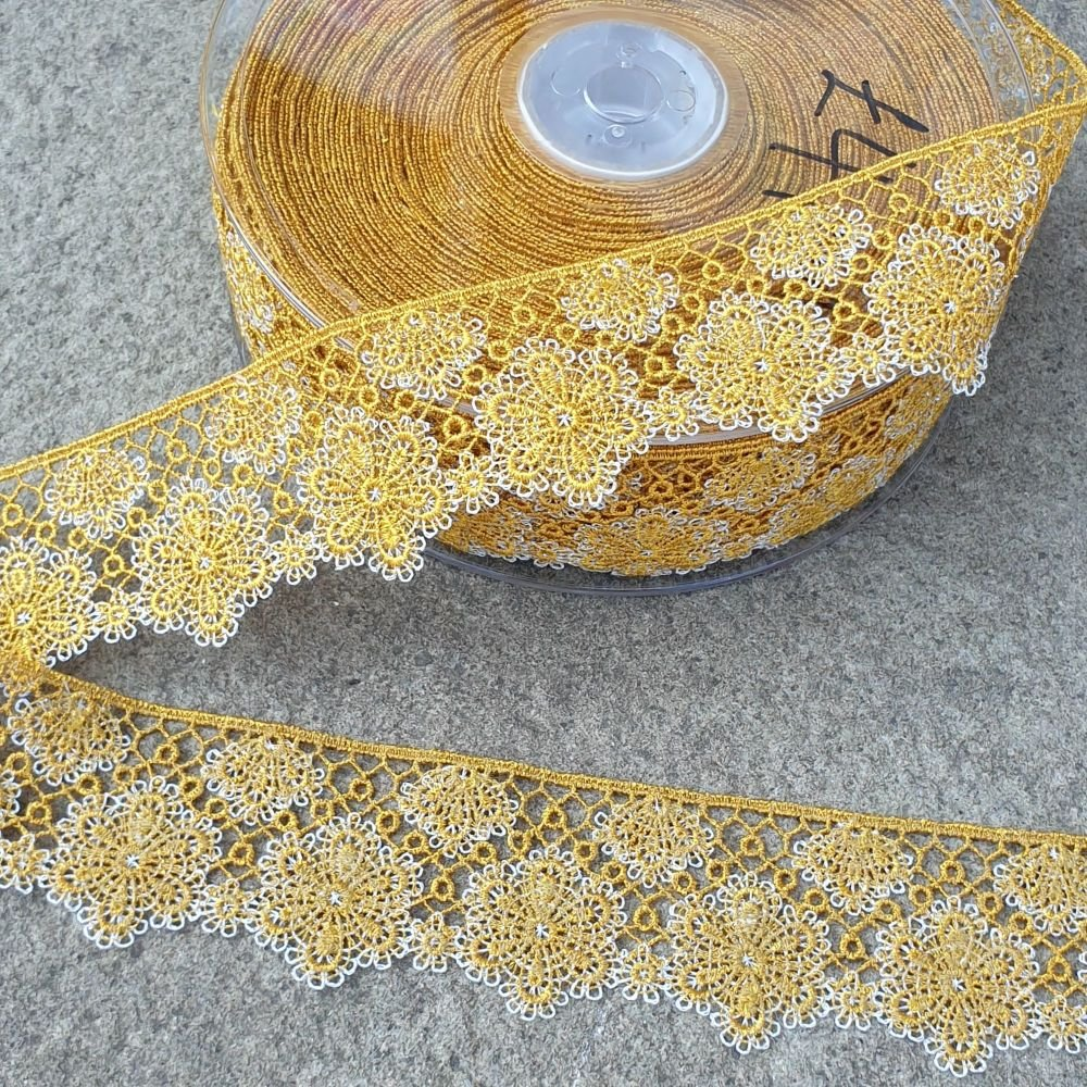 Flower Lace Trim 35mm Mustard