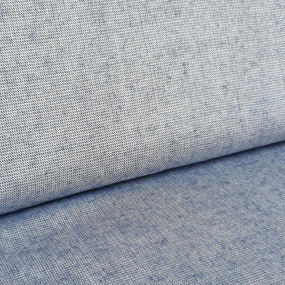 Blue Metallic Viscose Linen Look Fabric