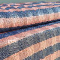 Blue/Red Metallic Viscose Linen Look Fabric