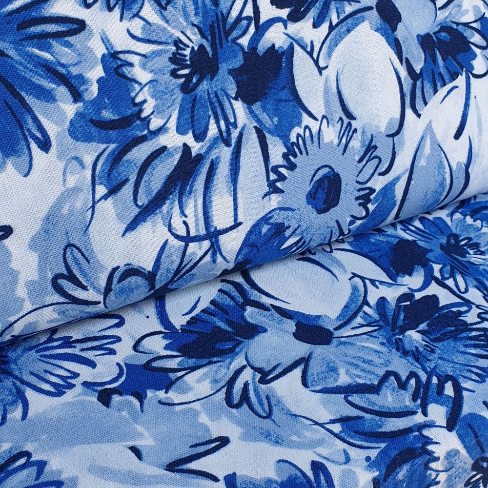 Floral Blues Linen Viscose Fabric