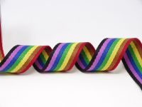 38mm Light Rainbow Stripe Bertie's Bows Heavy Weight Webbing 5 Metre Roll