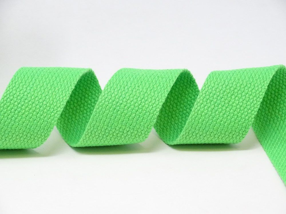 30mm Neon Green Bertie's Bows Cotton Blend Heavy Weight Webbing 5 metre Roll