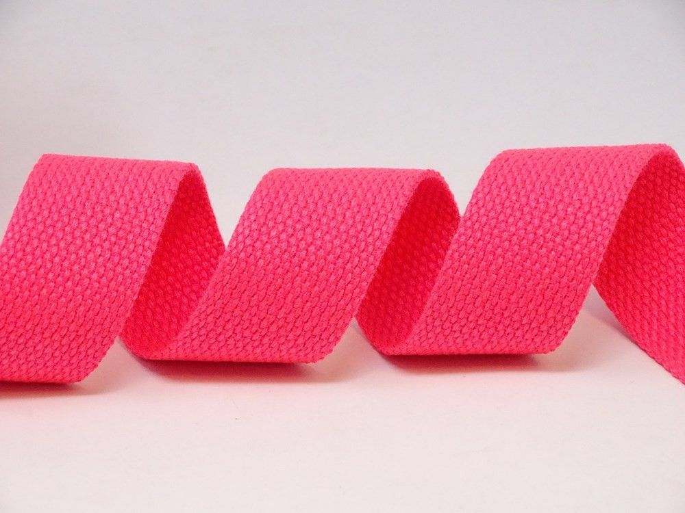30mm Neon Pink Bertie's Bows Cotton Blend Heavy Weight Webbing 5 Metre Roll