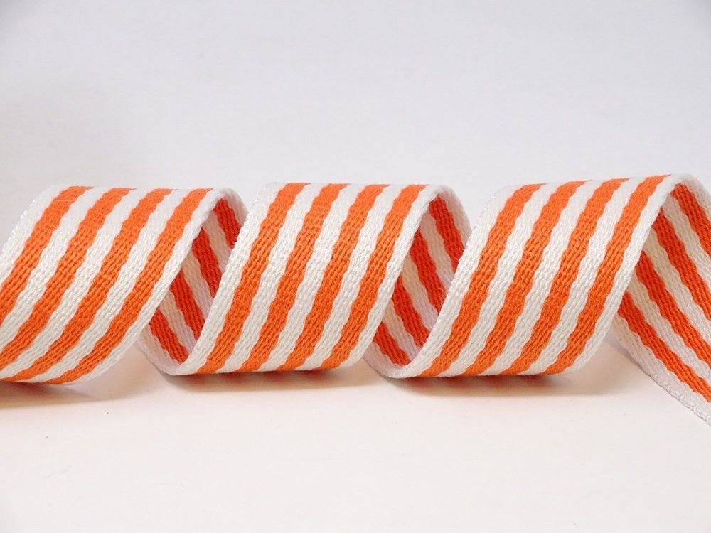 35mm Orange/White Stripe Heavy Weight Webbing