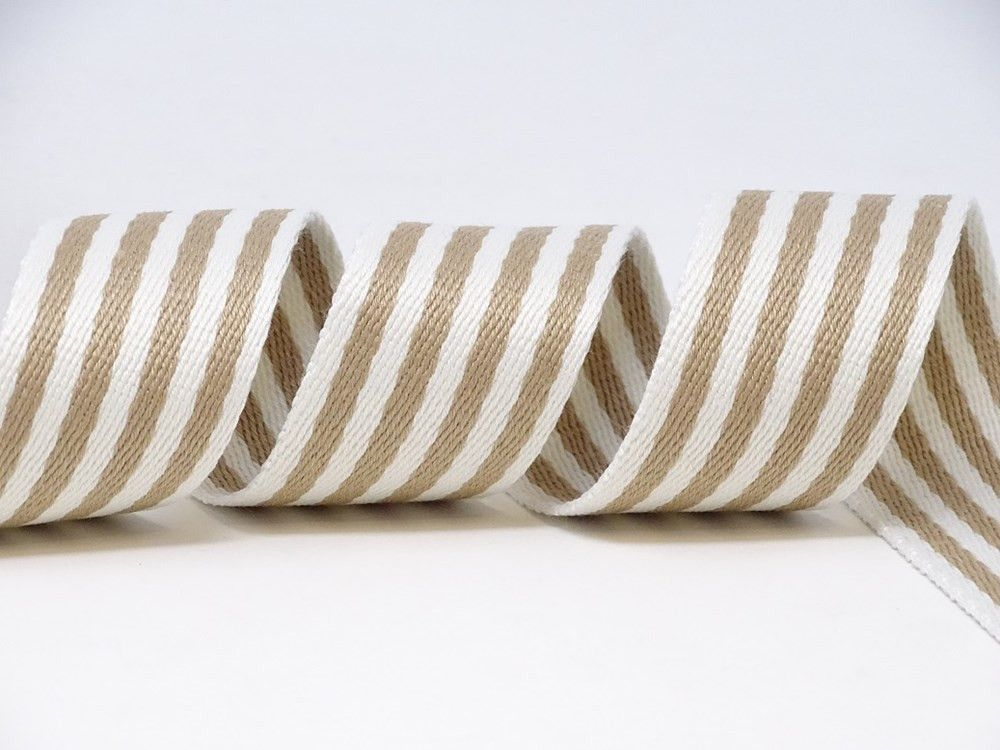 35mm Stone/White Stripe Medium Weight Webbing
