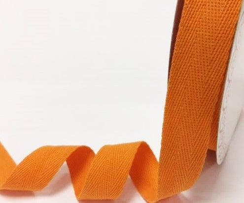 25mm Bertie's Bows Cotton Herringbone Webbing Orange