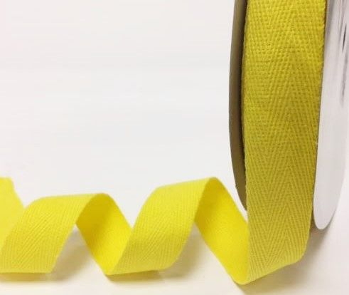 25mm Bertie's Bows Cotton Herringbone Webbing Yellow