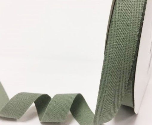 25mm Bertie's Bows Cotton Herringbone Webbing Sage