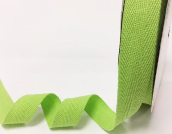 25mm Bertie's Bows Cotton Herringbone Webbing Lime