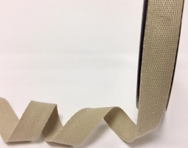 25mm Bertie's Bows Cotton Herringbone Webbing Natural