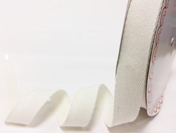 25mm Bertie's Bows Cotton Herringbone Webbing Ivory