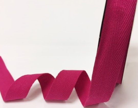 25mm Bertie's Bows Cotton Herringbone Webbing Hot Pink