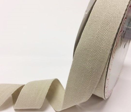 40mm Bertie's Bows Cotton Herringbone Webbing Light Natural