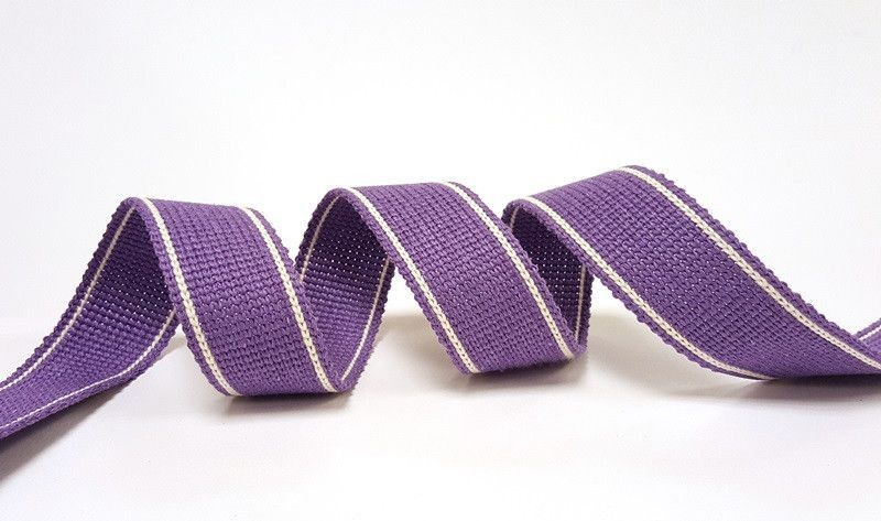 34mm Lupin Purple 2-Stripe Cotton Blend Heavy Weight Webbing