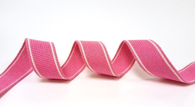 34mm Pink 2-Stripe Cotton Blend Heavy Weight Webbing