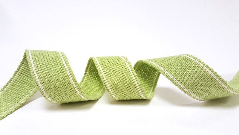 34mm Lime 2-Stripe Cotton Blend Heavy Weight Webbing