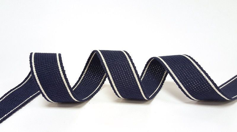 34mm Navy 2-Stripe Cotton Blend Heavy Weight Webbing