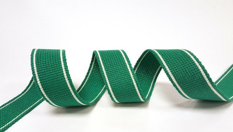 34mm Green 2-Stripe Cotton Blend Heavy Weight Webbing