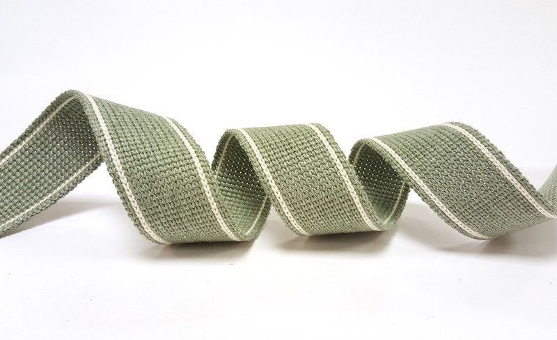 34mm Sage 2-Stripe Cotton Blend Heavy Weight Webbing