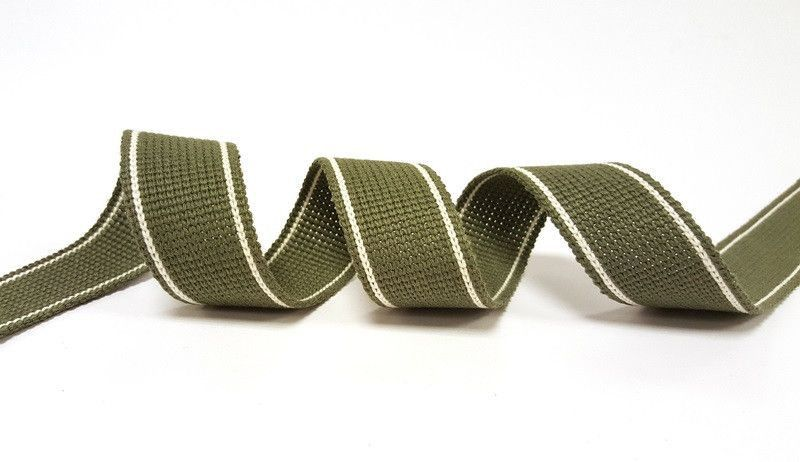34mm Khaki 2-Stripe Cotton Blend Heavy Weight Webbing